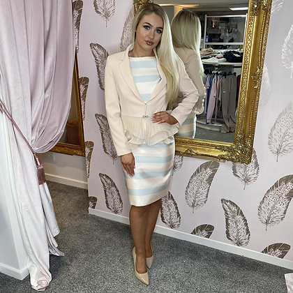 LB Nude/Grey Stripe Dress & Nude Organza Frill Jacket