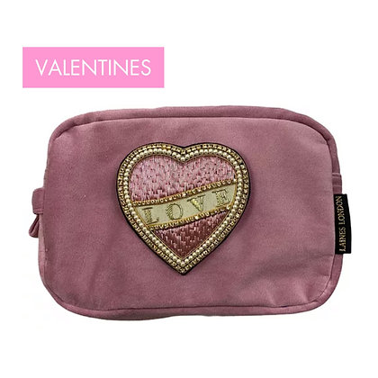 LAINES Luxe Pink Velvet Bag With Deluxe Cream Love Brooch