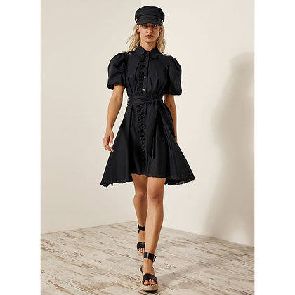 LB Black Shirt Dress with Embroidered Detailing