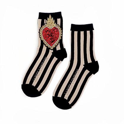 LAINES Black & Cream Heart Socks