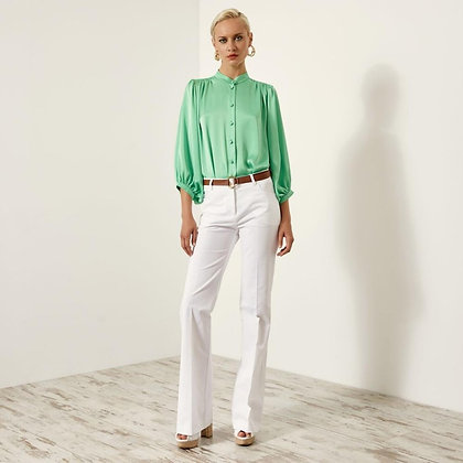 LB Green Satin Puff Sleeve Blouse