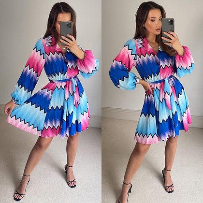Blue & Pink Multi Shirt Dress