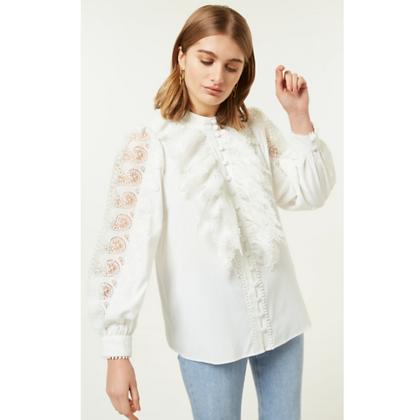LB White Lace Frill Shirt