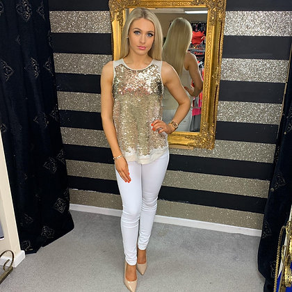 LB Nude/Gold Sequin Tank