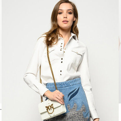PINKO White Leather Look Shirt