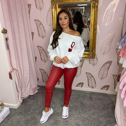 LB White QUEEN OF HEARTS Sweater