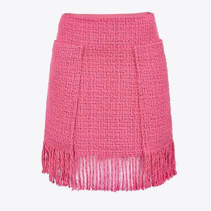 PINKO Pink Fringed Tweed Mini Skirt