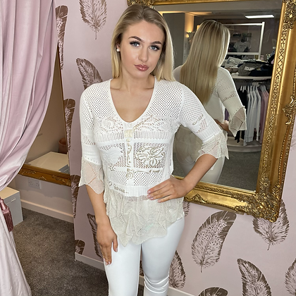 EC Cream with Gold Knit Top