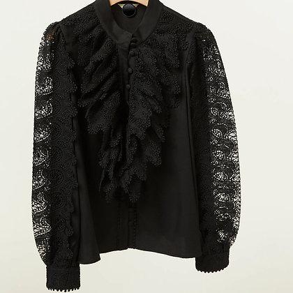 LB Black Lace Frill Shirt