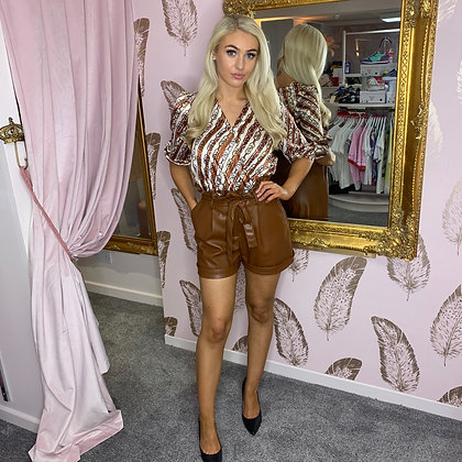 LB Brown Leather Frill Shorts