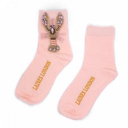 LAINES Pink & Gold Lobster Socks