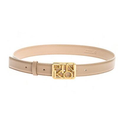 PINKO Cream Leather Logo Belt