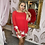 Thumbnail: LB Red Cape Style Floral Embellished Dress