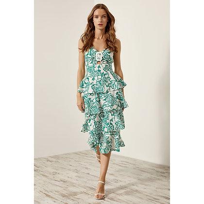 LB Green Print Frill Dress