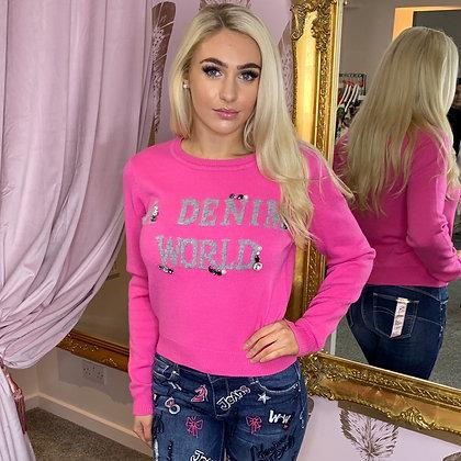 LB Pink Denim World Embellished Knit