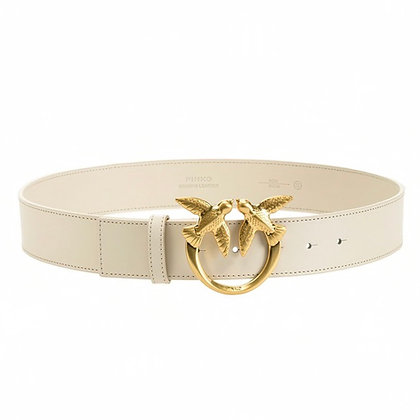 PINKO Cream Leather belt with Love Birds Buckle