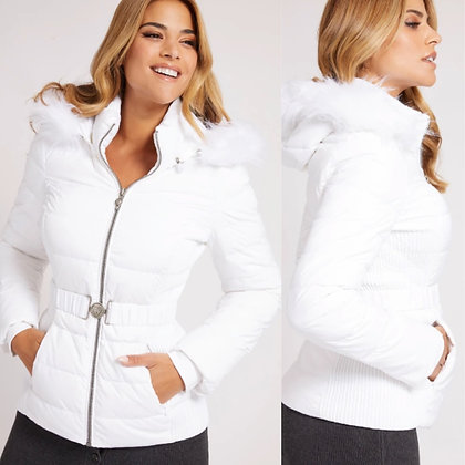 GUESS White Padded Coat with Detachable Fur Hood