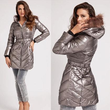 GUESS Bronze Puffer Coat with Detachable Fur Hood