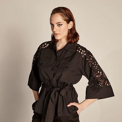 LB Black Shirt Dress with cut out detail