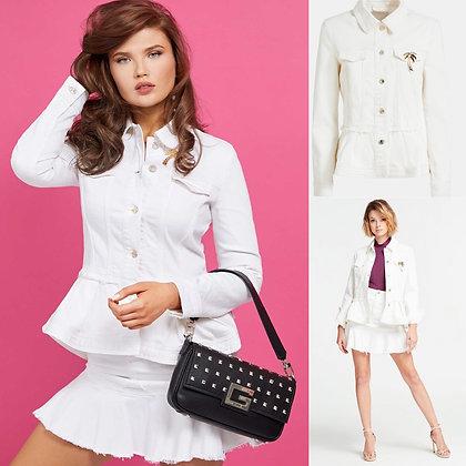 GUESS White Denim Peplum Jacket