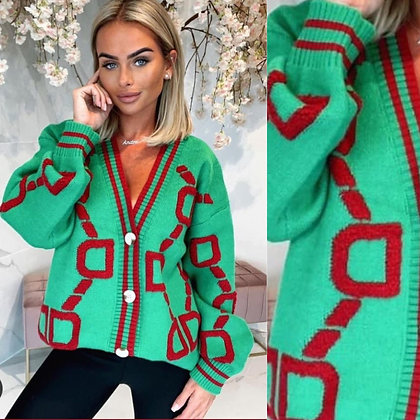 Green & Red Inspired Cardigan