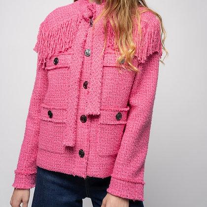 PINKO Pink Fringed Tweed Jacket