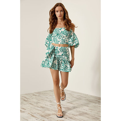 LB Green Print Frill Skirt Set