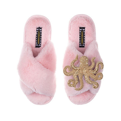 LAINES Pink Fluffy Slippers Pearl & Gold Octopus Brooch
