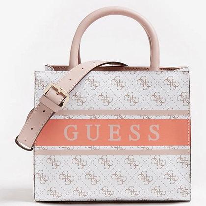 GUESS White Multi 4G Logo Mini Shopper