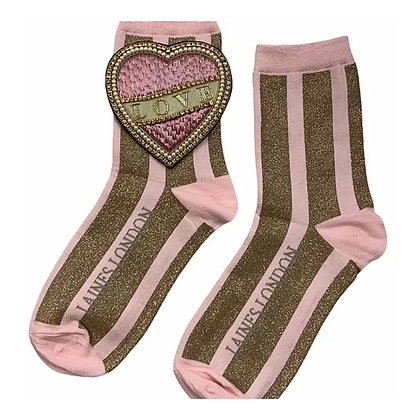 LAINES Pink & Gold Shimmer Stripe Cotton Socks With Cream Love Brooch