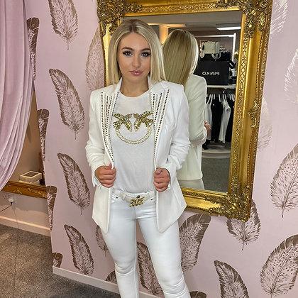 PINKO WHITE  Embellished Blazer