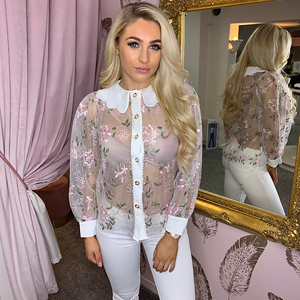LB Pink Floral Embroidered Blouse