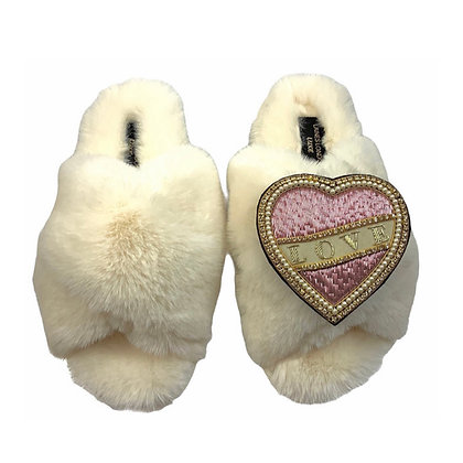 LAINES Luxe Fluffy CREAM Slippers With Pink & Cream Love Brooch