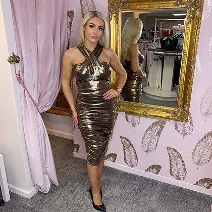 Kevan Jon Bronze Ruche Dress