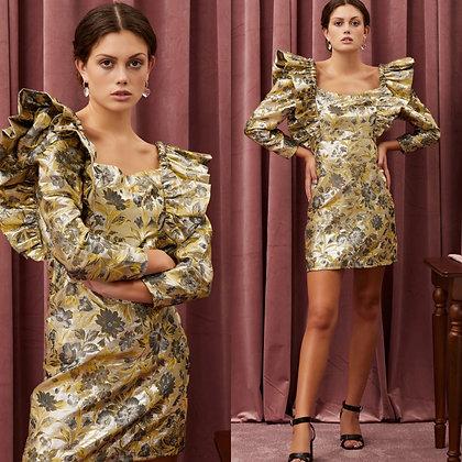 LB Gold with Silver Ruffle Mini Dress