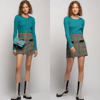 PINKO Check Boucle Mini Skirt