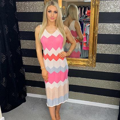 LB Pink Knit Chervon Dress