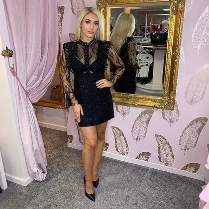 LB Black Lace & Tweed Mini Dress