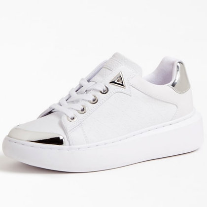 GUESS White with Silver 4G LOGO Trainer