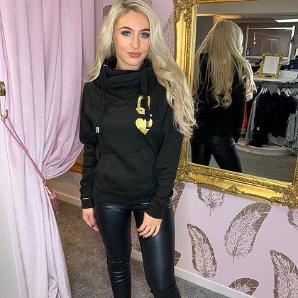 LB Black & Gold QUEEN OF HEARTS Hoodie