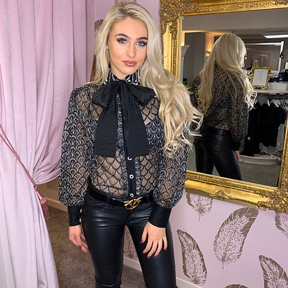 LB Black Embroidered Bow Blouse