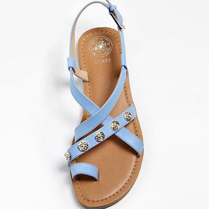 GUESS Blue Flat Leather Sandal
