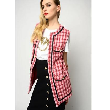 PINKO Pink/Red Check Waistcoat