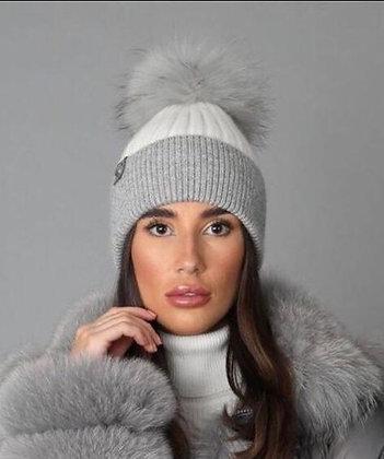 White & Grey Pom Pom Hat