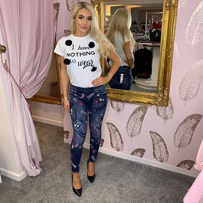 LB Denim, Pink Embellished Shaping Jean