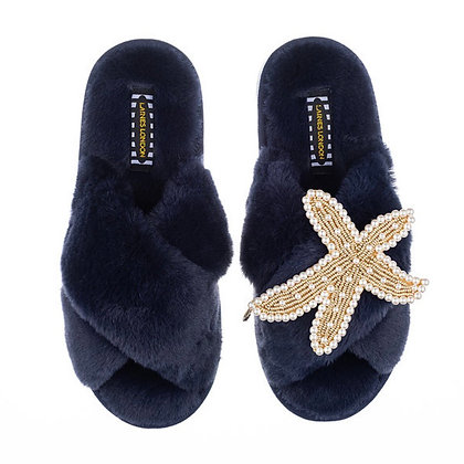 LAINES Navy Fluffy Slippers Pearl & Gold Starfish Brooch
