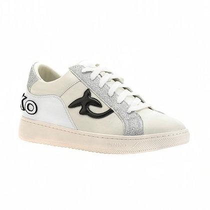 PINKO Flat Leather and Glitter sneaker