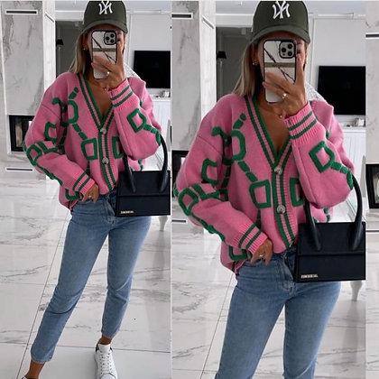 Pink & Green Inspired Cardigan