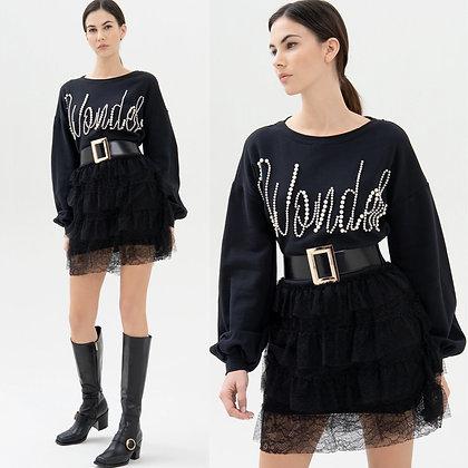 LB WONDER Pearl & Lace Sweater Dress