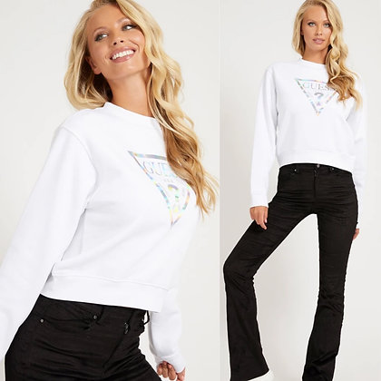 Guess White Silver Triangle Sweater